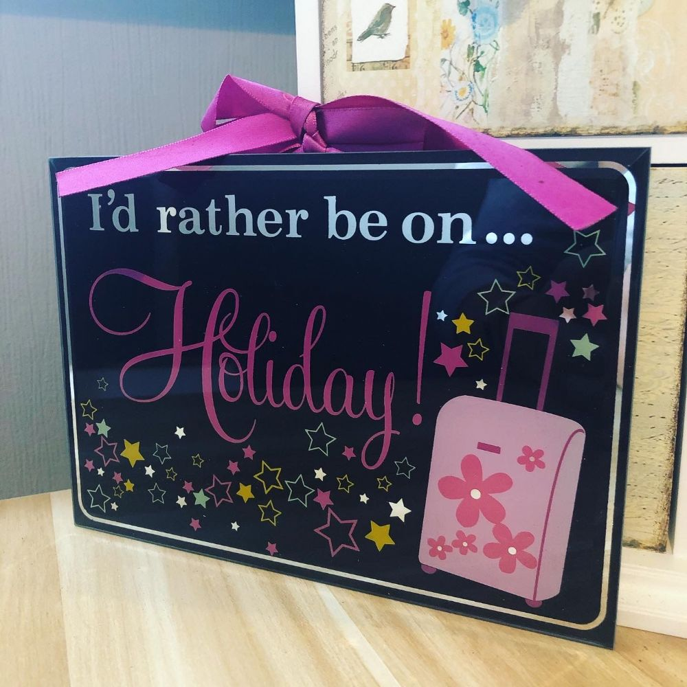 Holiday Black Glass Plaque